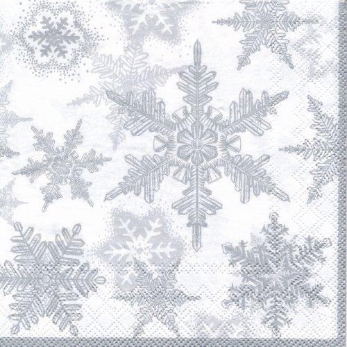 ペーパーナプキン(33)AMB:(5枚)雪の結晶(シルバー)-AM62