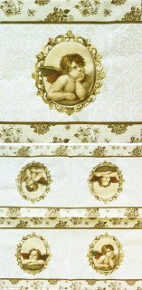 ペーパーナプキン(33)AMB:(5枚)エンジェル(ブラウン・ゴールド)-AM64