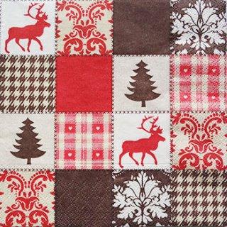 ペーパーナプキン(33)AMB:(5枚)クリスマスパッチワーク(レッド・ブラウン)-AM82