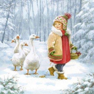ペーパーナプキン(33)AMB:(5枚)Emmy Feeding Geese-AM275