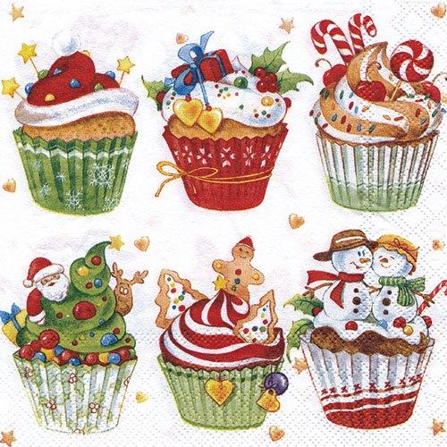 ペーパーナプキン(33)AMB:(5枚)クリスマスカップケーキ-AM308
