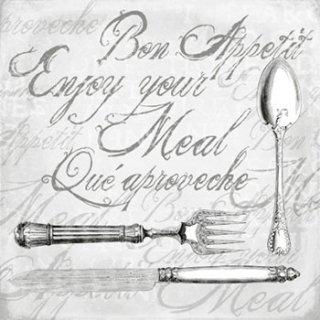 ペーパーナプキン(33)AMB:(5枚)ENJOY YOUR MEAL GREY-AM310