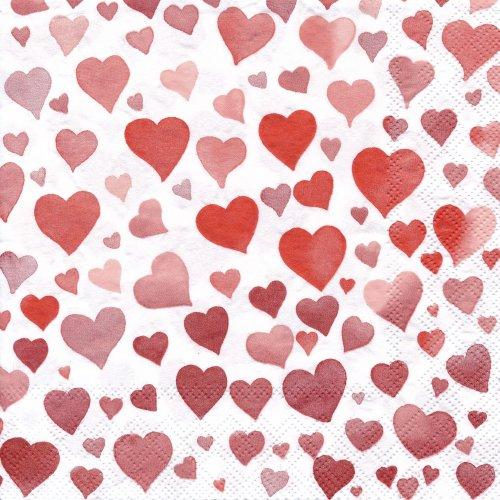 ペーパーナプキン(33)AMB:(5枚)Colourful Hearts Red-AM322