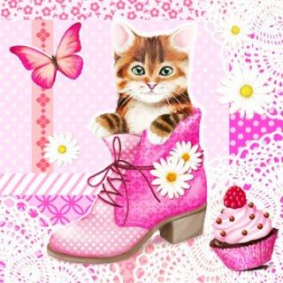 ペーパーナプキン(33)AMB:(5枚)Cat In Shoe-AM341