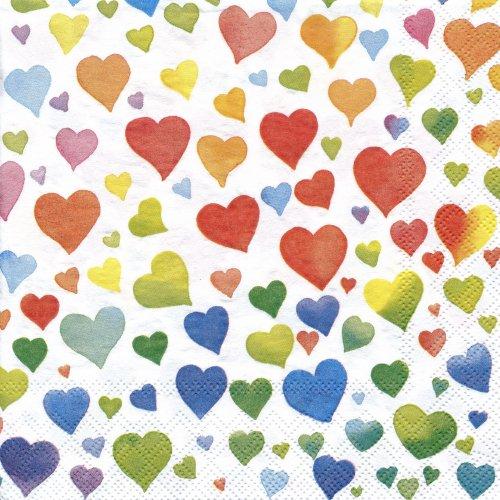 ペーパーナプキン(33)AMB:(5枚)Colourful Hearts Mix-AM343