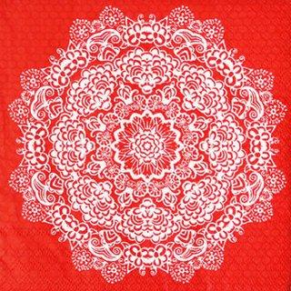 ペーパーナプキン(33)AMB:(5枚)LACE FLOWER RED-AM377