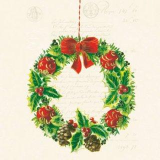 ペーパーナプキン(33)AMB:(5枚)Christmas Wreath-AM406