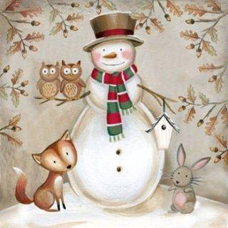 ペーパーナプキン(33)AMB:(5枚)Woodland Snowman-AM418
