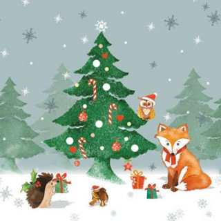 ペーパーナプキン(33)AMB:(5枚)Christmas Forest-AM423
