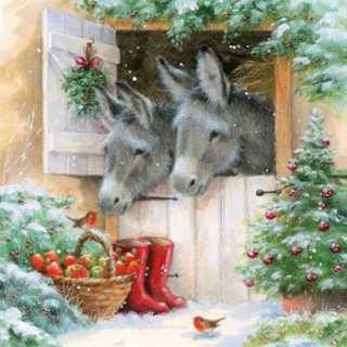 ペーパーナプキン(33)AMB:(5枚)Santas Donkeys-AM432