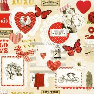 ペーパーナプキン(33)AMB:(5枚)Love Ticket-AM478
