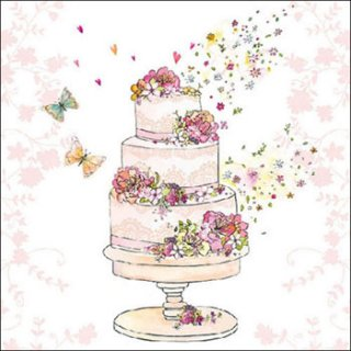 ペーパーナプキン(33)AMB:(5枚) Flowered Wedding Cake-AM498