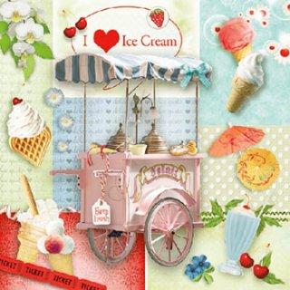 ペーパーナプキン(33)AMB:(5枚)I Love Ice Cream -AM513