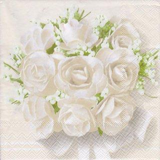 ペーパーナプキン(33)AMB:(5枚) White Roses-AM521