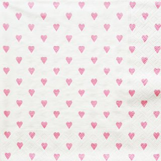 ペーパーナプキン(33)caspari:(5枚)Sweet hearts ホワイトピンク-CA69