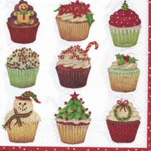 ペーパーナプキン(33)caspari:(5枚)クリスマスカップケーキ(レッド)-CA77