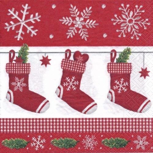 ペーパーナプキン(33)colorful:(5枚)red stocking-CO18