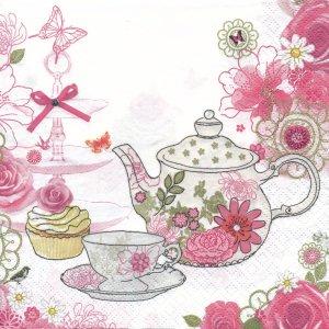 ペーパーナプキン(33)Daisy:(5枚)ティーセットとカップケーキ(ピンク)-DA6