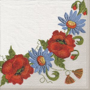 ペーパーナプキン(33)Daisy:(5枚)花刺繍-DA27