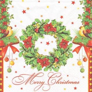 ペーパーナプキン(33)Daisy:(5枚)Merry Christmas as Wreath-DA75