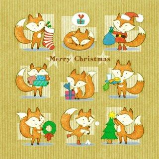 ペーパーナプキン(33)Daisy:(5枚)Christmas as Foxies-DA110