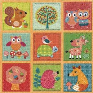 ペーパーナプキン(33)Daisy:(5枚)Woodland Lovely Animals-DA113