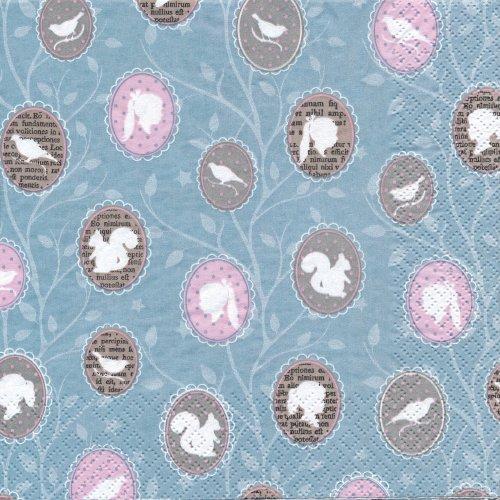 ペーパーナプキン(33)home:(5枚)Amelie(ブルー系)-HO8