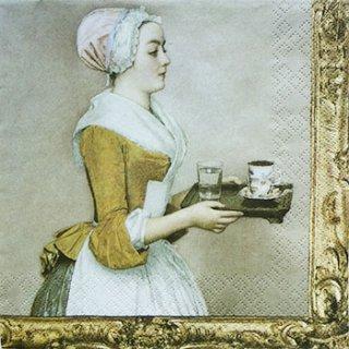 ペーパーナプキン(33)home:(5枚)チョコレートを持った女性-HO26