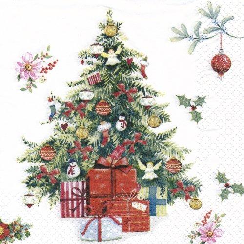 ペーパーナプキン(33)home:(5枚)クリスマスツリー(ホワイト)-HO140