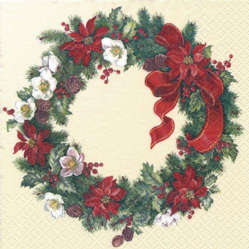 ペーパーナプキン(33)home:(5枚)クリスマスリース(クリーム)-HO142