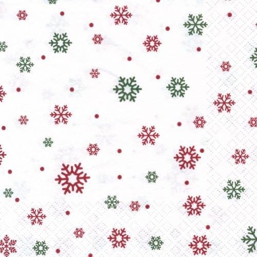 ペーパーナプキン(33)home:(5枚)雪の結晶(レッド・グリーン)-HO160