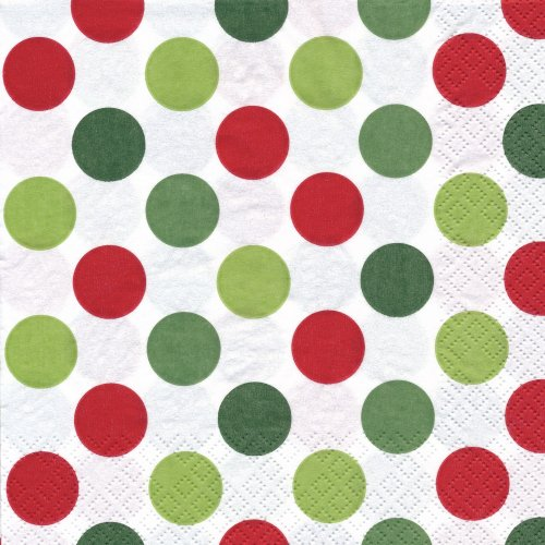 ペーパーナプキン(33)home:(5枚)Mini Dots red/green-HO173
