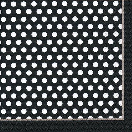 ペーパーナプキン(33)IHR:(5枚)TOP DOTS(ホワイト・ブラック)-IH5