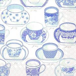 ペーパーナプキン(33)IHR:(5枚)COLLECTION CUPS(ホワイトブルー)-IH121