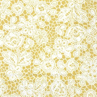 ペーパーナプキン(33)IHR:(5枚)PRETTY LACE gold-IH271