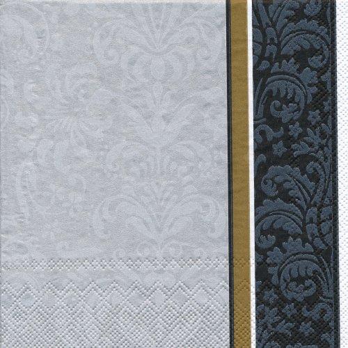 ペーパーナプキン(33)IHR:(5枚)VELVET silver black-IH292