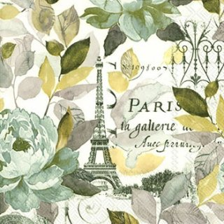 ペーパーナプキン(33)IHR:(5枚)JARDIN PARIS grey-IH309