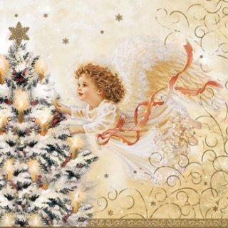 ペーパーナプキン(25)Maki:(5枚)天使とクリスマスツリー(クリーム)-MA1(25)