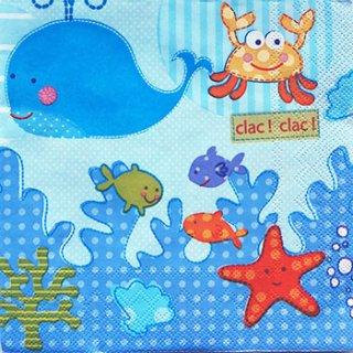 ペーパーナプキン(33)Maki:(5枚)海の仲間(ブルー)-MA24