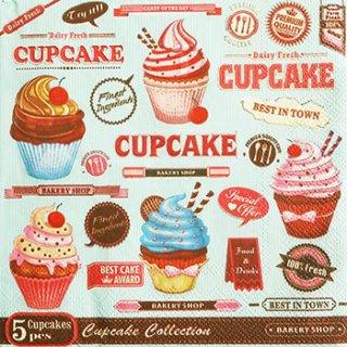 ペーパーナプキン(33)Maki:(5枚)Vintage Cupcake Poster-MA113