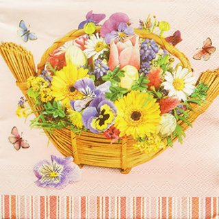 ペーパーナプキン(33)Maki:(5枚)Colorful Bouquet in Basket-MA127