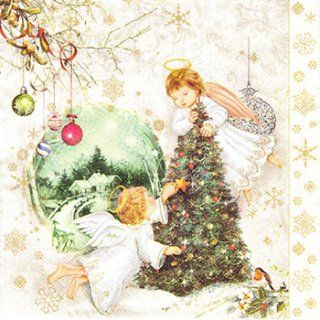 ペーパーナプキン(33)Maki:(5枚)Two Angels & Christmas Tree-MA140