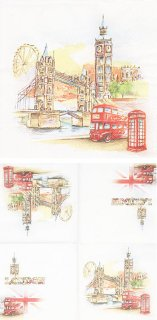 ペーパーナプキン(33)Maki:(5枚)London in Watercolour-MA149