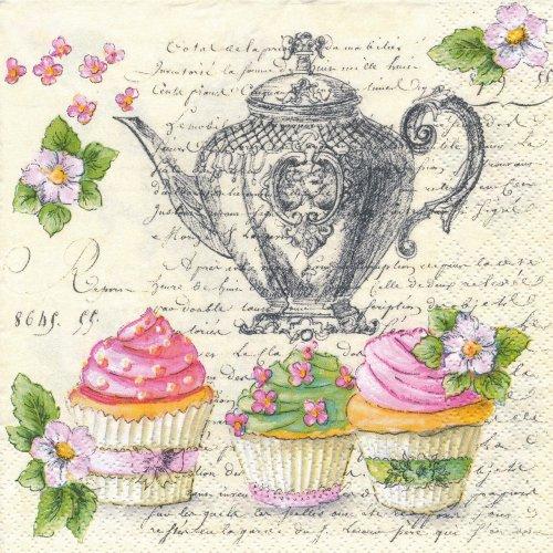 ペーパーナプキン(33)Maki:(5枚)Retro Cupcakes and Teapot-MA153
