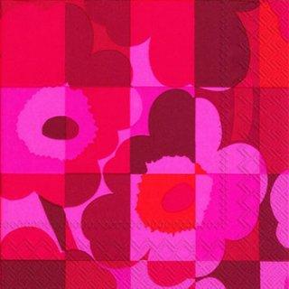 ペーパーナプキン(25)marimekkoマリメッコ:(5枚)【8】MINI-RUUTU-UNIKKO red(25)