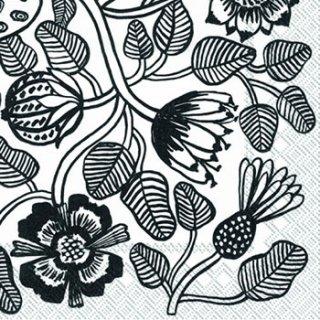 ペーパーナプキン(25)marimekkoマリメッコ:(5枚)【16】TIARA white black(25)