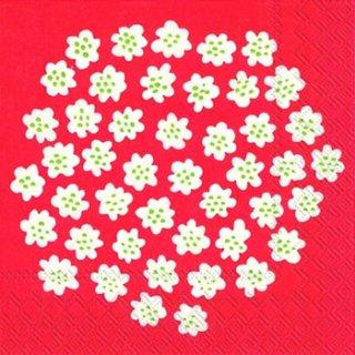 ペーパーナプキン(33)marimekkoマリメッコ:(5枚)【60】PUKETTI white red