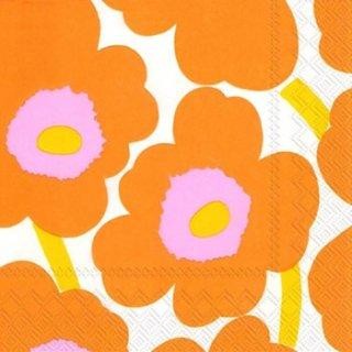 ペーパーナプキン(33)marimekkoマリメッコ:(5枚)【80】UNIKKO orange