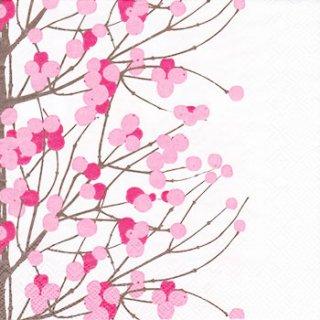 ペーパーナプキン(33)marimekkoマリメッコ:(5枚)【81】LUMIMARJA white pink
