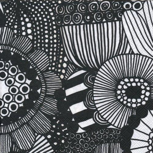 ペーパーナプキン(33)marimekkoマリメッコ:(5枚)【91】SIIRTOLAPUUTARHA white black
